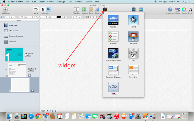 insert widget in iBook